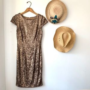 Hobbs London brown bronze sequin cocktail dress